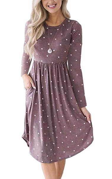 18aa9e8d6dd ECOWISH Womens Dresses Striped Long Sleeve Elastic Waist Vintage Retro Midi  Dress with Pockets 085 Purple