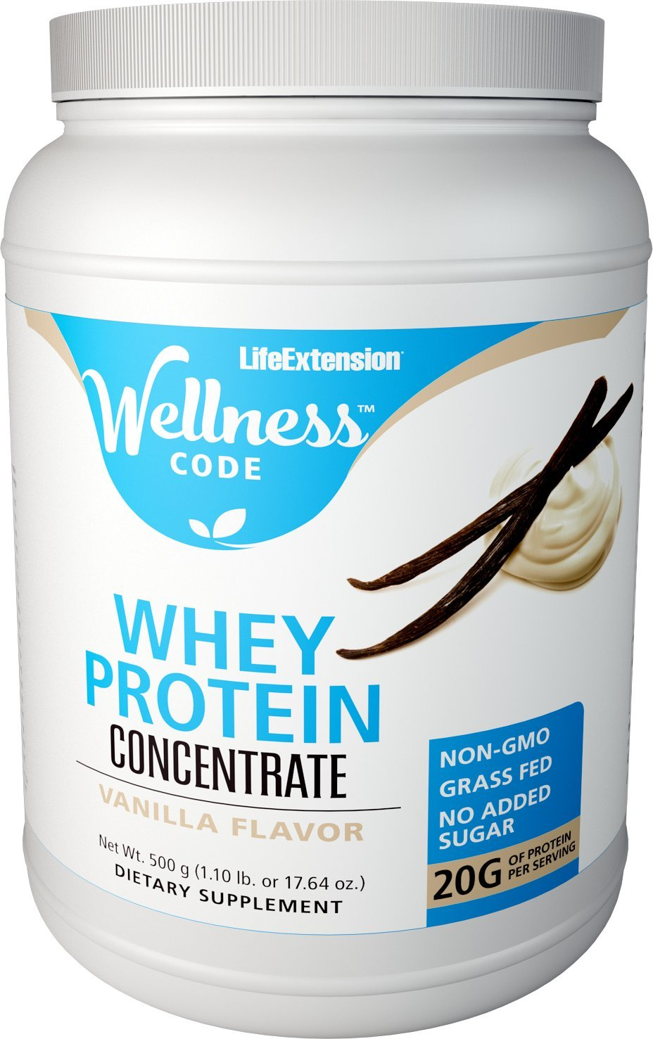 Life Extension Wellness Code Whey Protein Concentrate, Vanilla, 500 Gram