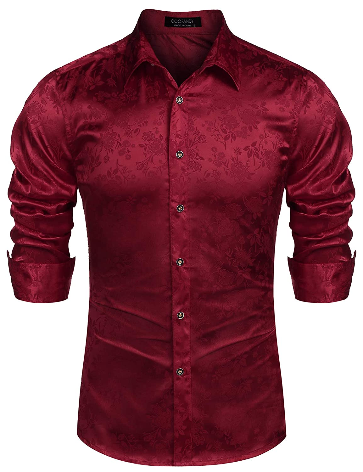 COOFANDY Mens Floral Rose Printed Long Sleeve Dress Shirts Prom Wedding Party Button Down Shirts