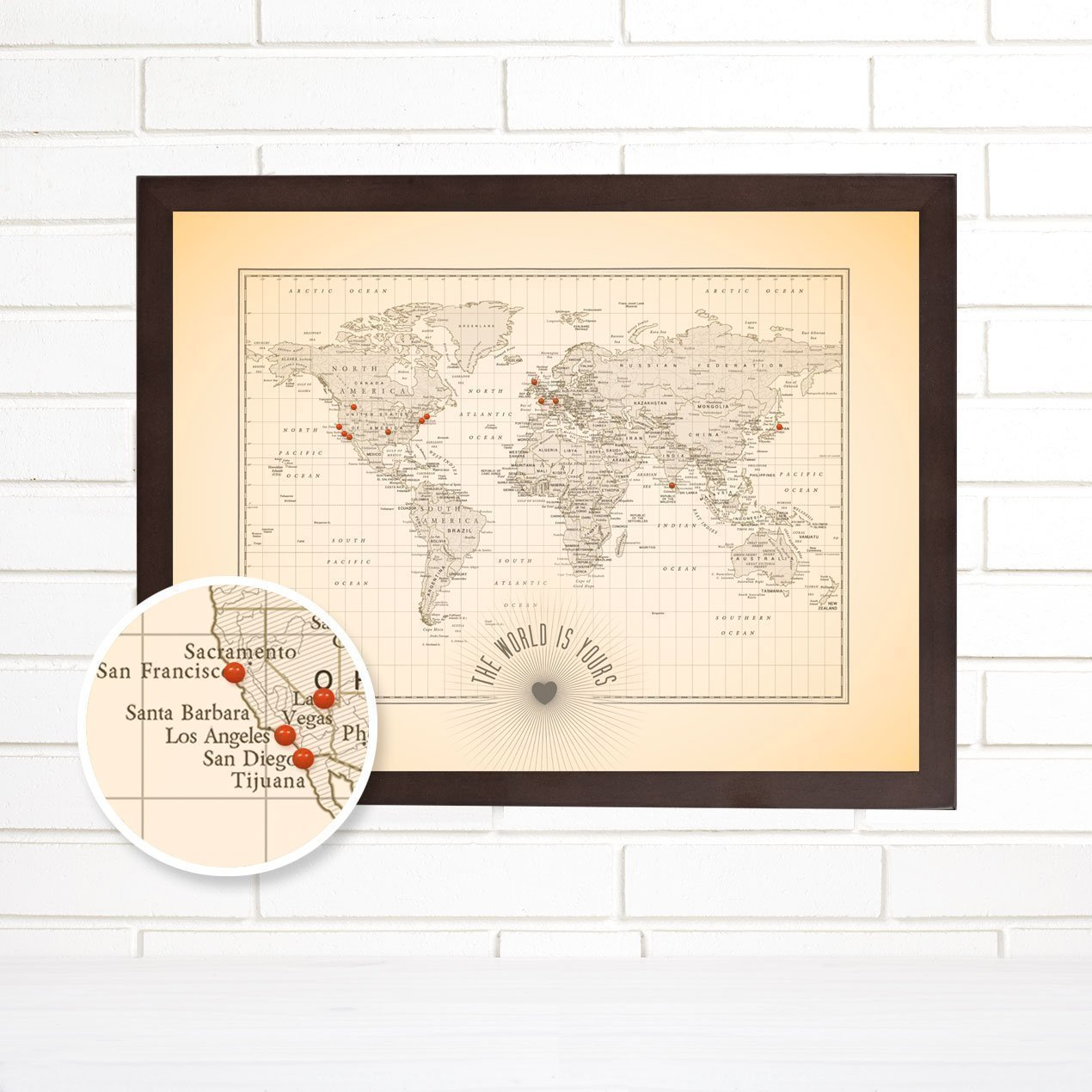 World Push Pin Travel Map Art, ''The World is Yours''