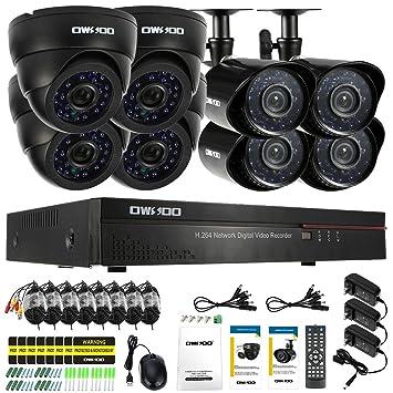 Amazon.com: owsoo 8 CH 960H/D1 800TVL CCTV de vigilancia ...