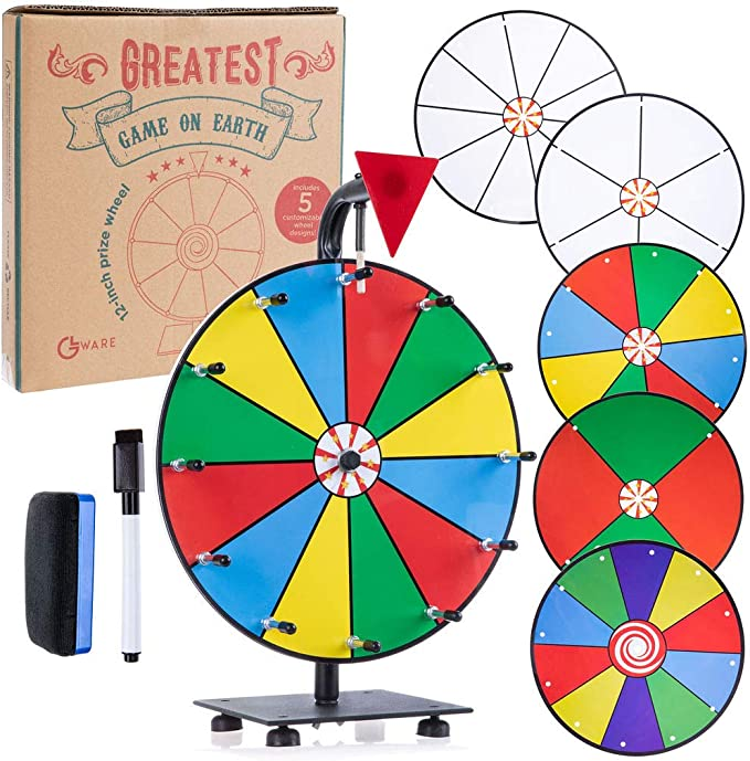 10 Slots Tabletop Prize Wheel Spinner Win The Fortune Spin Game T-SIGN 12 Inch Heavy Duty Spinning Prize Wheel 2 Dry Erase Markers and 1 Eraser for Carnival and Trade Show