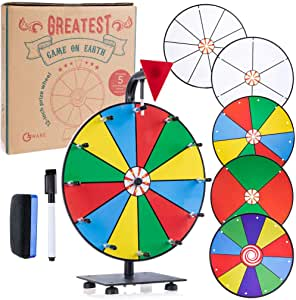 "GLWare 12"" 5-in-1 Tabletop Prize Wheel - Smooth Spinning Dry Erase Wheel for Game Prizes with 5 Color & White Wheels, Marker Pen & Eraser - Win Fortune Carnival Raffle Games"
