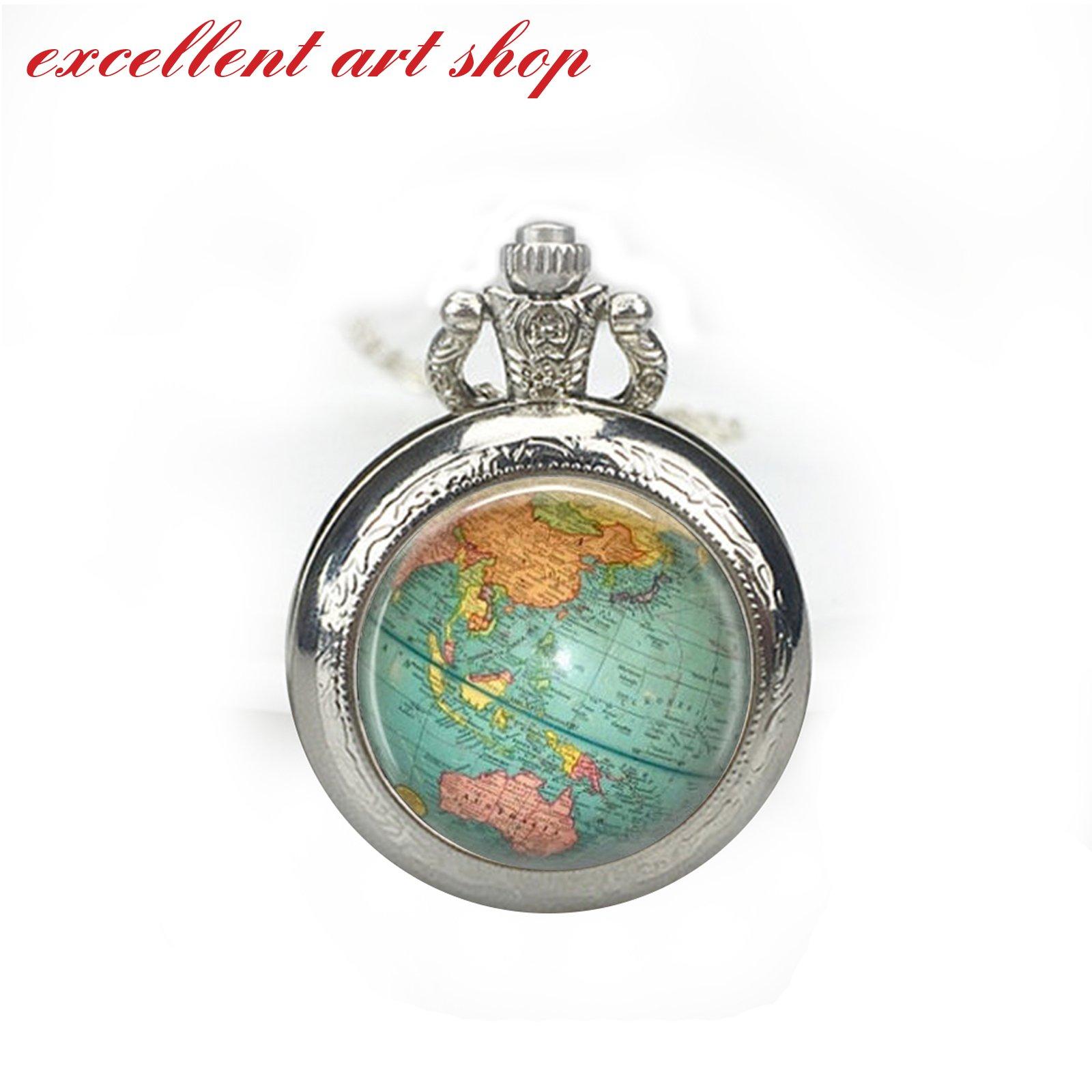 World Map Pocket Watch Necklace, Vintage World Map, Nautical, Vintage Gold or Silver Pocket Watch