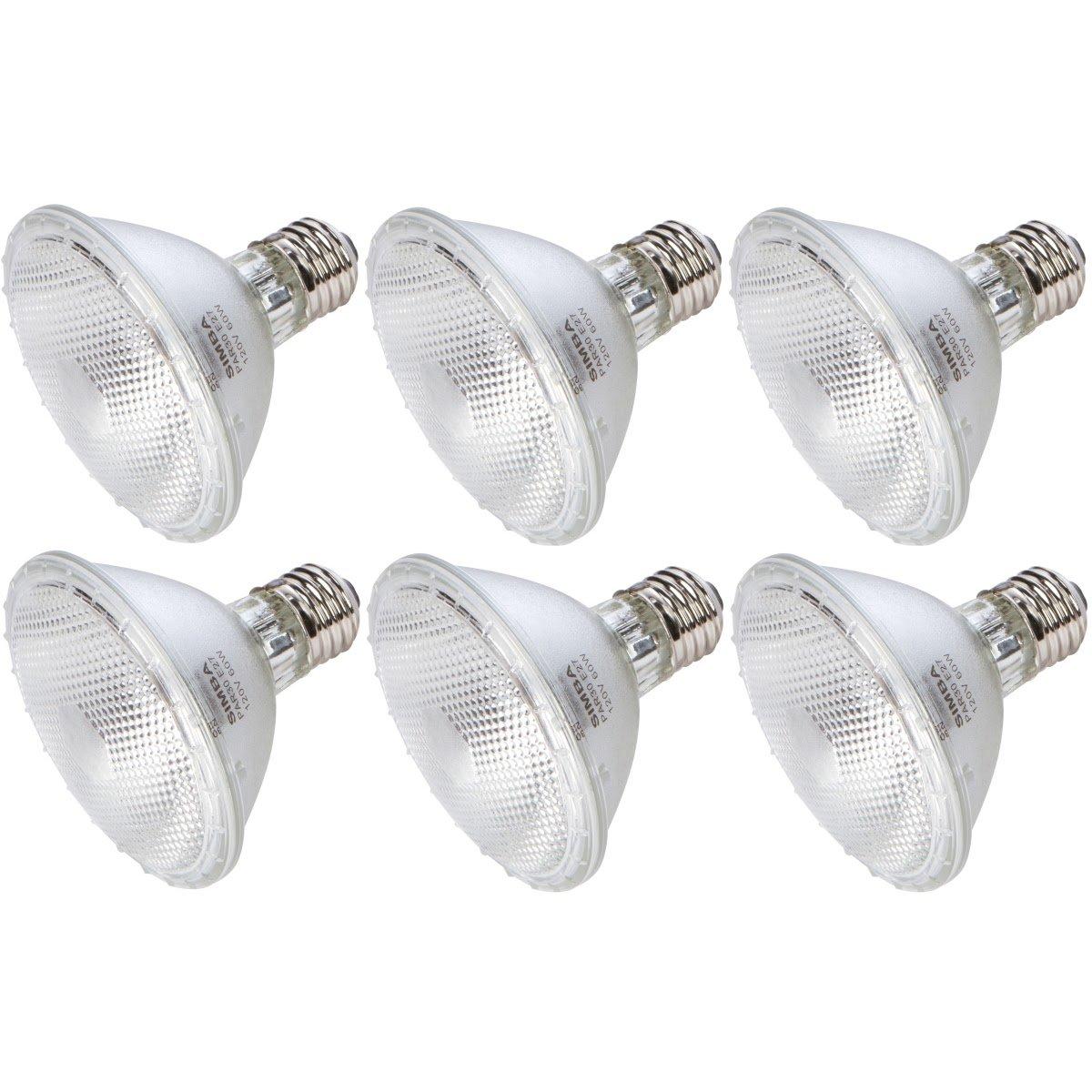 [6 Pack] Simba Lighting™ Halogen 60PAR30/FL 120V 60 Watt PAR30 Short Neck High Output (75W Replacement) Flood Light PAR 30 Bulbs Soft White E26 Medium Base