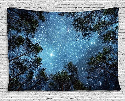 Forest Starry Tapestry Wall Hanging 3D Printing Galaxy Tree Night Sky Home Décor