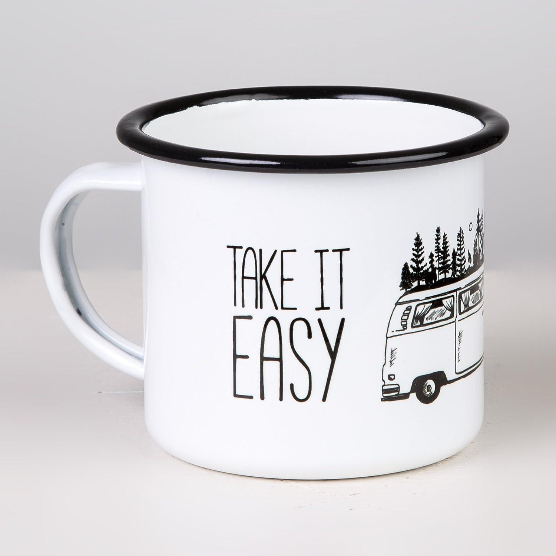 La TASSENWERK Keep it Simple MUGSY Take it Easy Taza esmaltada con dise/ño Bulli en el Exterior de dise/ño Resistente a la Rotura y Ligera para Camping y Trekking Retro Taza de caf/é 300 ml