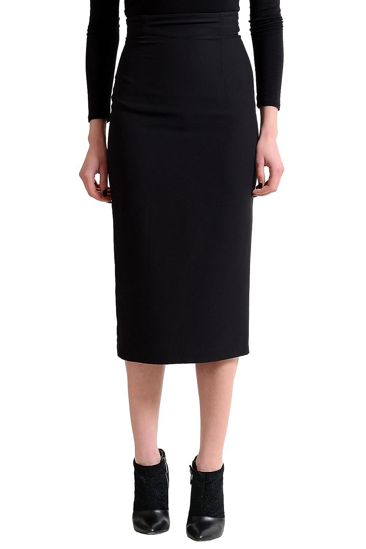 Versace Women's Black 100% Silk Long Pencil Skirt US 2 IT 38