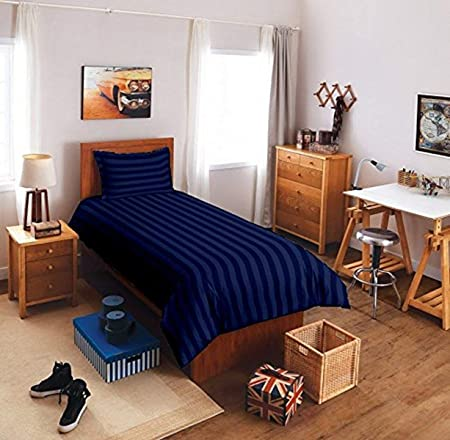 Reliable Trends Plain Stripe Single Elastic Fitted Bedsheets,Royal Blue