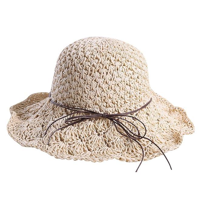 ZiXing Cappelli di Paglia Estate UPF50 + Borsalini a Tesa Larga cap Floscio  Cappello da Spiaggia Regolabile da Sole per Donna Beige  Amazon.it  ... d54fdfcb5bf1