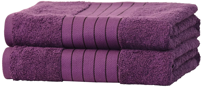 Dreamscene Luxury 100% Egyptian Cotton 2 x Jumbo Bath Sheets Extra Large Towels Bale - Grape TB2GA643