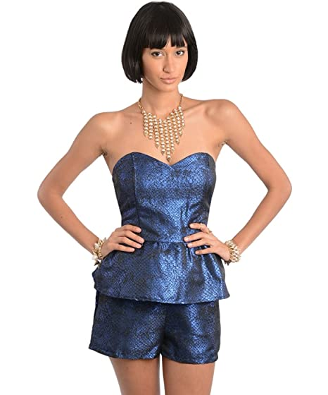 64602665e8a1 Amazon.com  2LUV Women s Metallic Sweetheart Peplum Romper Royal Blue S   Clothing