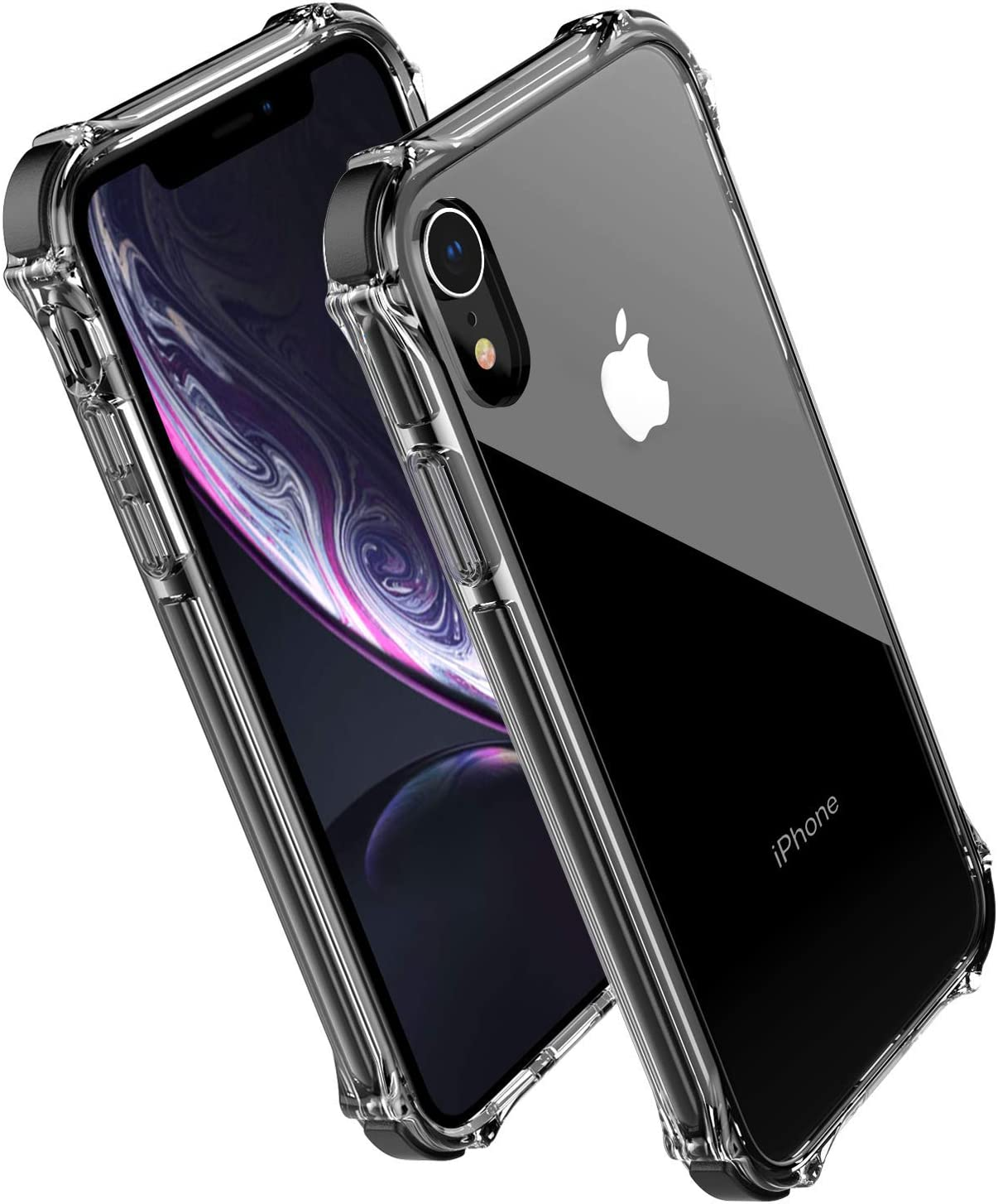 Compatible with Apple iPhone XR case,Noii Clear Hybrid Drop Protection case,[Super Rubber Bumper Series] Shockproof case,Heavy Duty Drop Protective Cover for iPhone XR 6.1 inch 2018 - Black