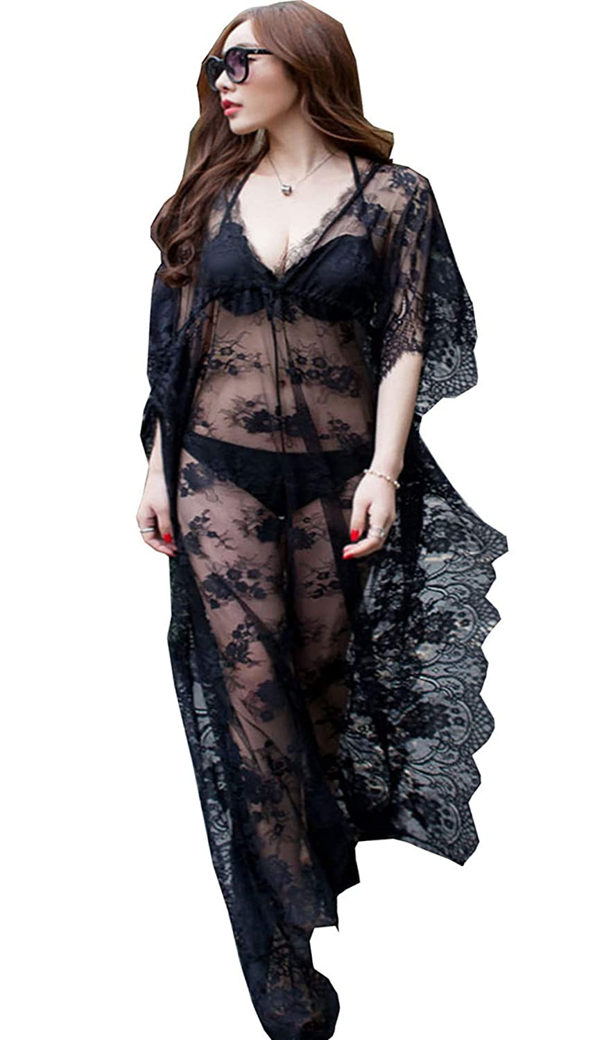 7dae1863b3736 Santwo Fashion Sexy Swimsuit Cover Up Floral Lace Long Beach Dress Beachwear