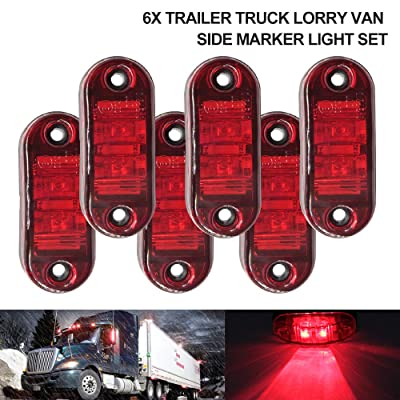 "6Pcs 2.5"" RV Marker Lights, Trailer Truck Led Side Marker Lights, 12V 24V Waterproof 67 Universal Fender Light Boat Marine Led Courtesy Lights Interior Lamps (2.5"", 6 Red): Automotive"