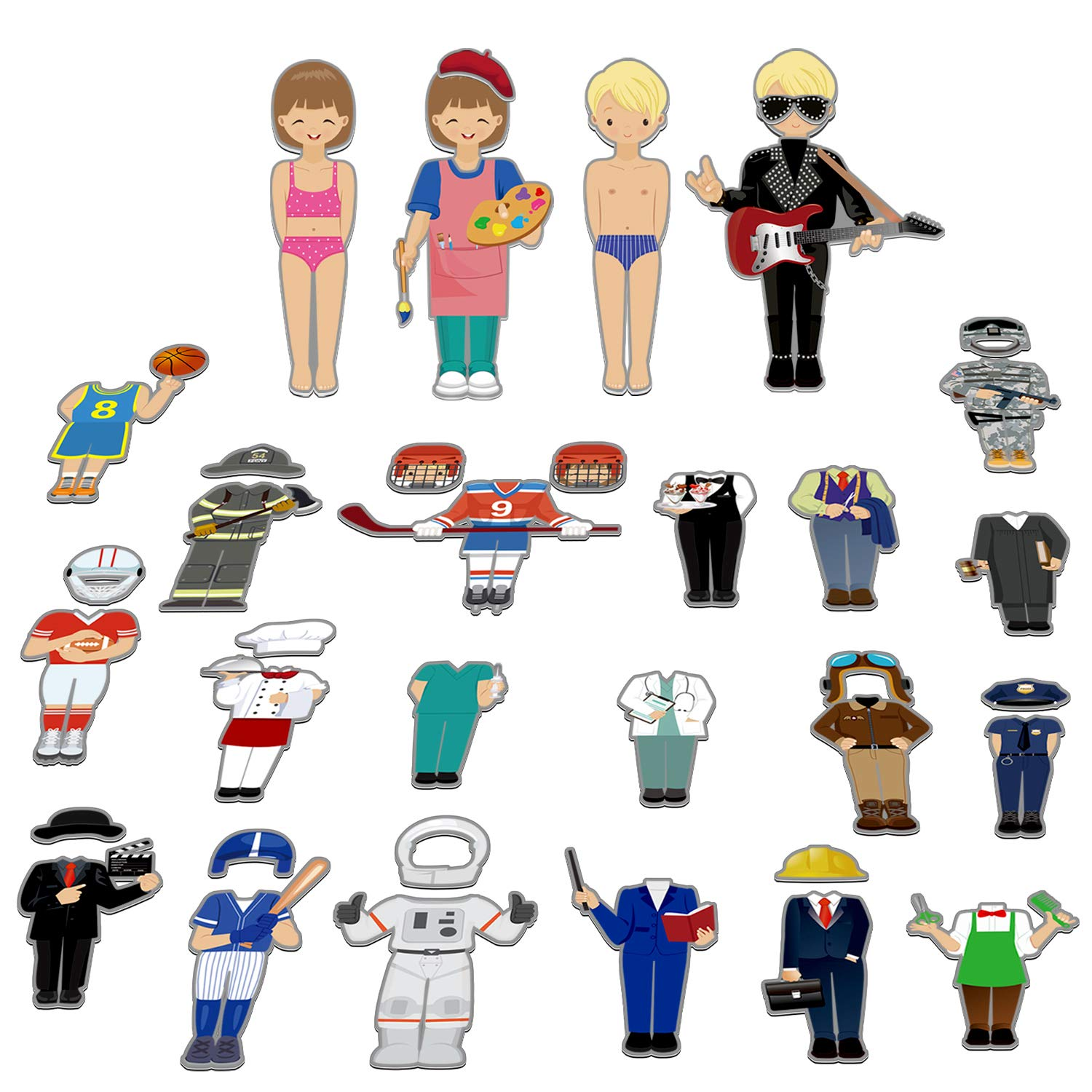 56 PCS Magnetic Dress-up Pretend Play Doll Set with 21 Occupations Jobs, Perfect for Preschool Learning by SpriteGru