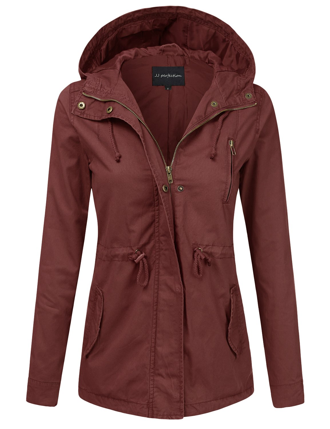 JJ Perfection Women's Casual Lightweight Cotton Anorak Army Utility Jacket Marsala S