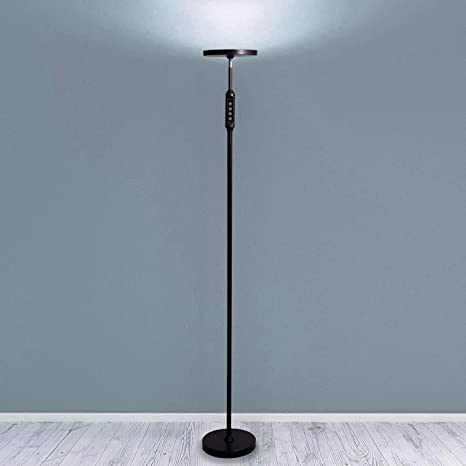 Daylight LED Floor Standing Lamp - Tall Modern Reading Task Uplight - 24W  Adjustable Warm Cool Super Bright Natural Light Torchiere for Living Room,  ...