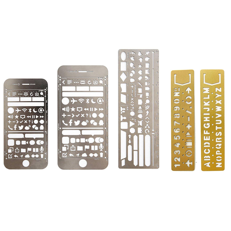 5 PCS Metal Multi funcional dibujo plantilla regla plantilla para ...