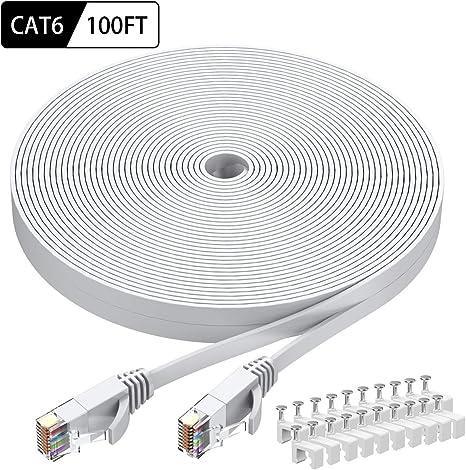 Amazon.com: intelart Cat 6 Ethernet Cable, 100 pies Blanco ... on