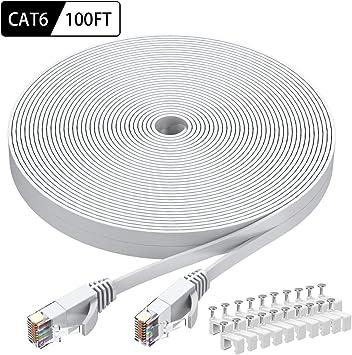 Slim Long Internet Network Lan patch cor Cat 6 Ethernet Cable 100 ft Flat White