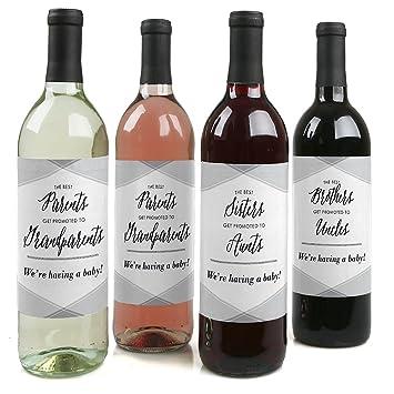 Bien-aimé Famille annonce Grossesse Bouteille de vin étiquettes - Lot de 4  LY31