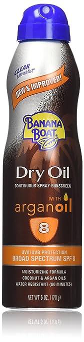 Banana Boat Sunscreen Ultra Mist Dry Oil Broad Spectrum Sun Care Sunscreen Spray - SPF 8, 6 Ounce(Pack of 3)