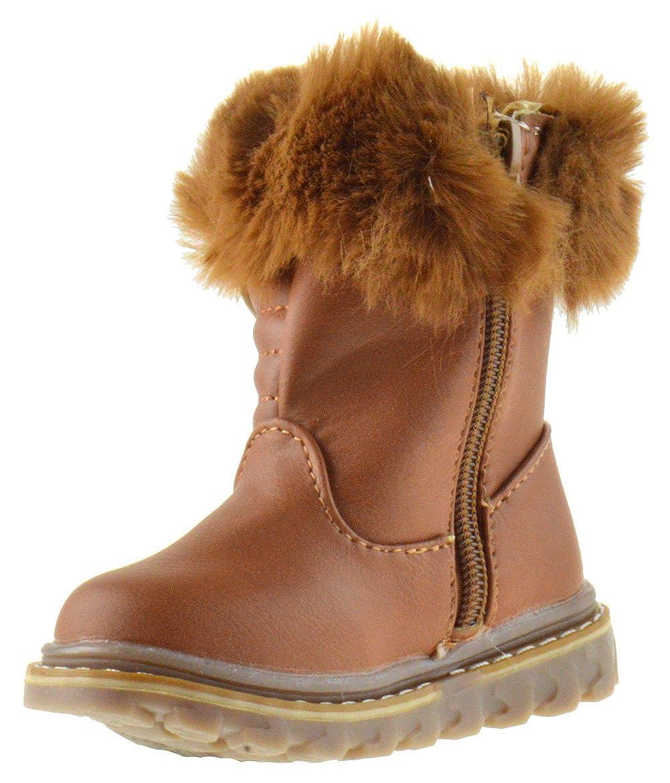 BK 20 Baby Girls Rhinestone Faux Fur Top Mid-Calf Boots