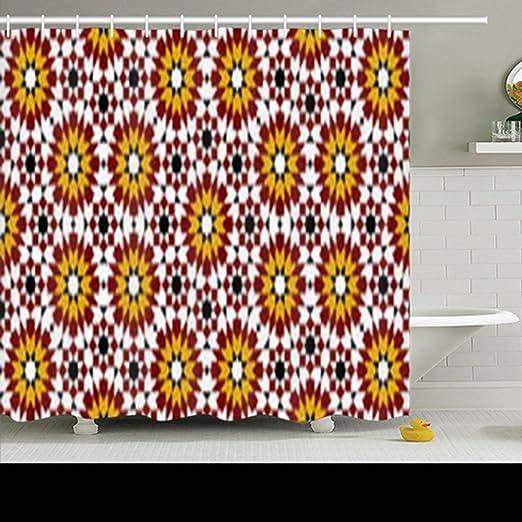 Alliucoo Rideaux de douche en tissu de polyester Multicolore ...