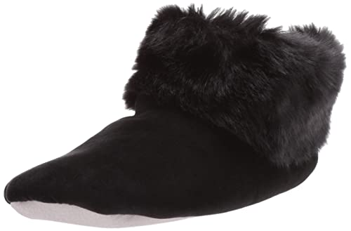 d93f8a04c ISOTONER Women's Stretch Velour and faux fur Sabrine Bootie House Slipper  Black