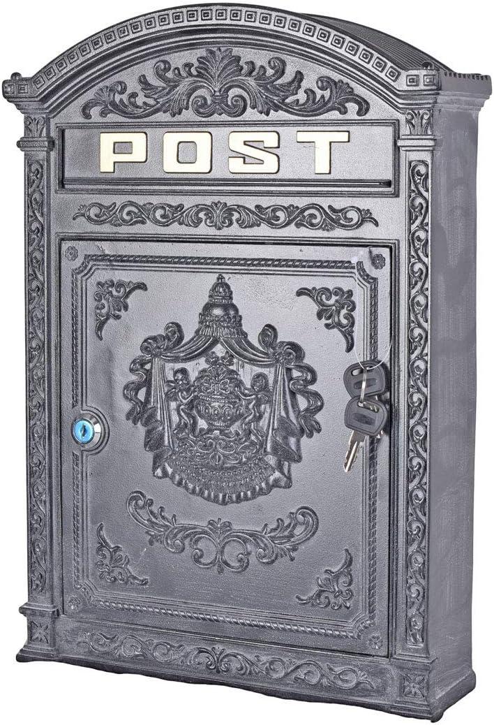 Jugendstil Briekasten Landhausstil Wandbriefkasten Gusseisen Postkasten weiss
