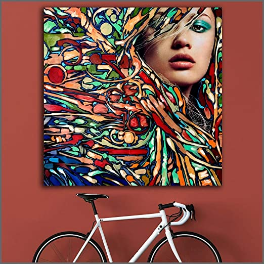 YuanMinglu Hermosa Mujer pintando sobre Lienzo Mural Colorido ...