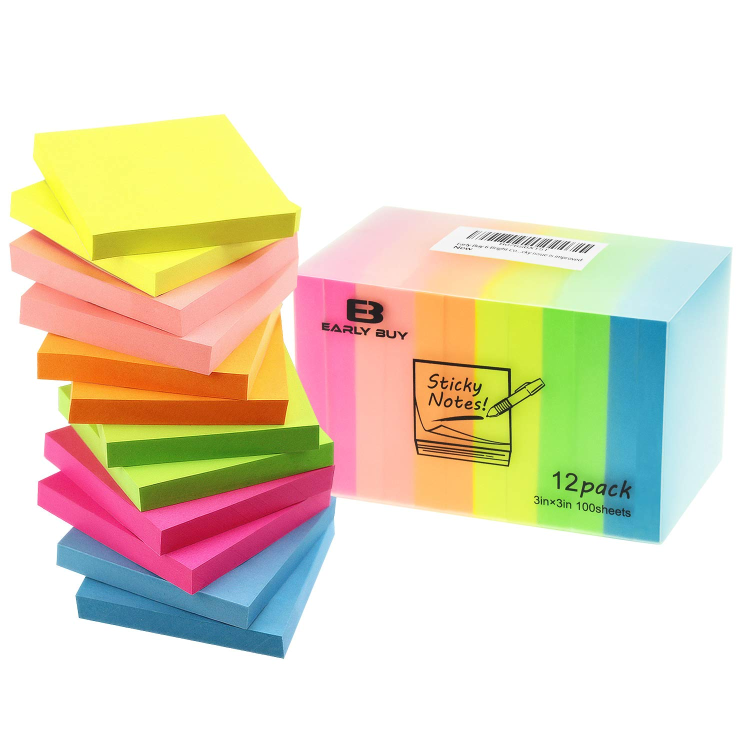 Early Buy 6 Bright Color Self-Stick Notes Sticky Notes 12 Pads/Pack 100 Sheets/Pad Sticky Notes 3 X 3 Inches Individually Package,Sticky issue is improved