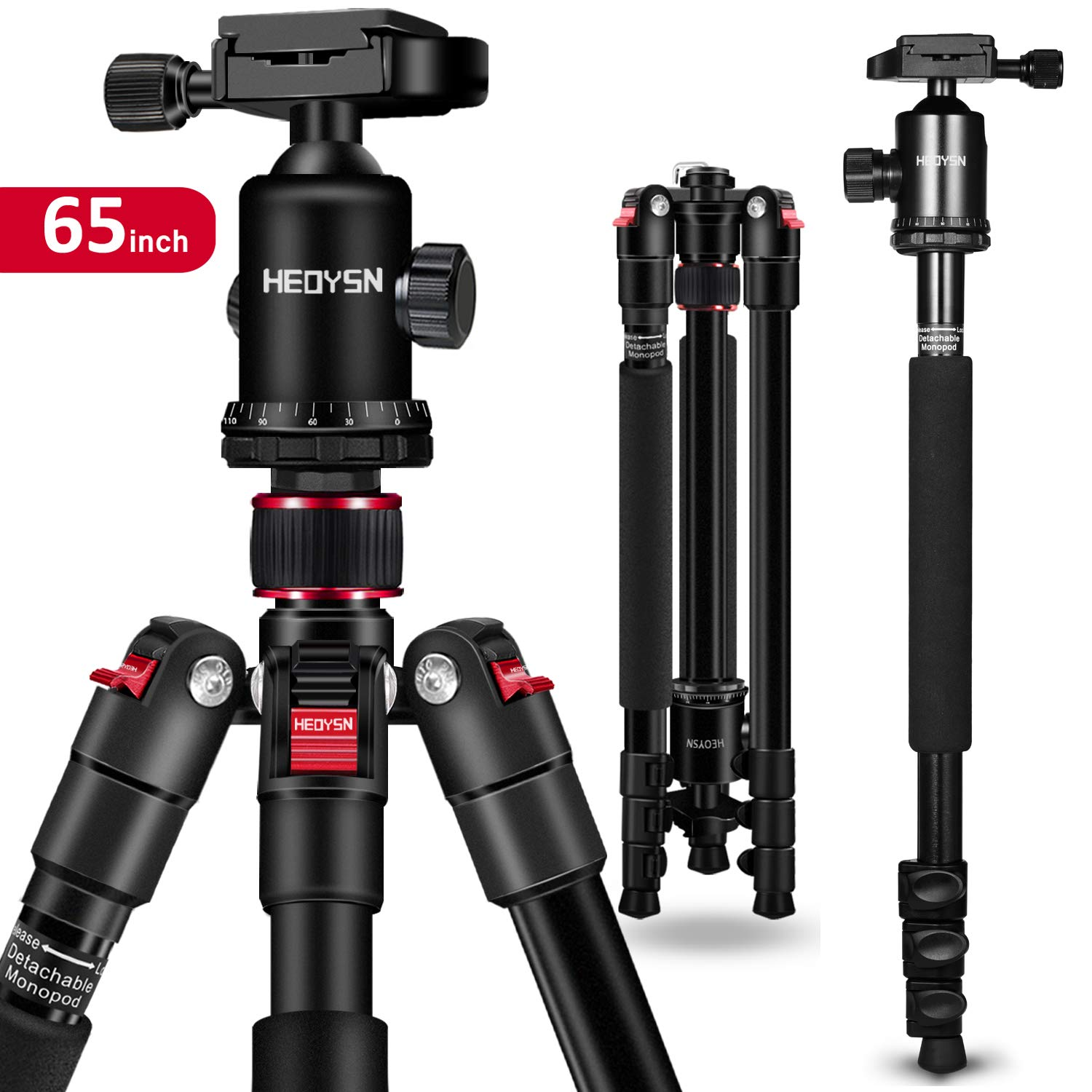 65'' DSLR Camera Tripod,HEOYSN Lightweight and Compact Aluminum Alloy Travel Tripod with 360 Degree Panorama Ball Head Quick Release Plate Detachable Monopod with Carry Bag for Travel & Work