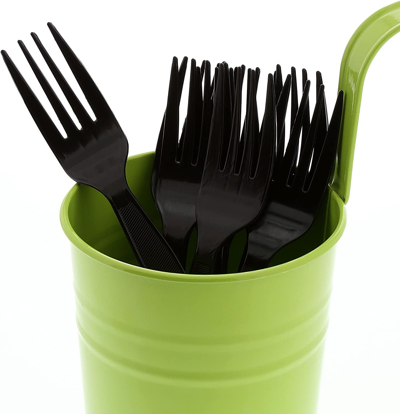 Case of 1000 AmerCare Heavy Weight Individually Wrapped Black Polypropylene Forks
