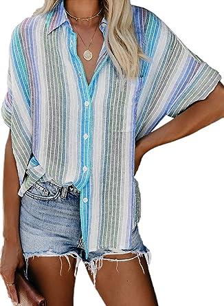 Aleumdr – Camisa de mujer con rayas de manga larga frontal con botones – Camiseta Top S-XXL: Amazon.es: Ropa y accesorios