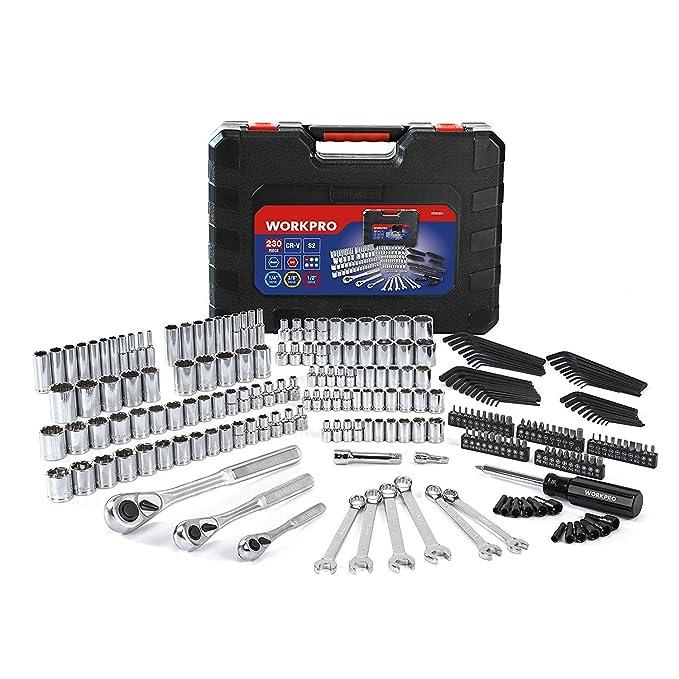 WORKPRO Juego de Herramientas para Reparación Mecánica Caja de herramienta Llaves de Vaso Llave Combinadas Brocas de Destornilladores de 230 PC