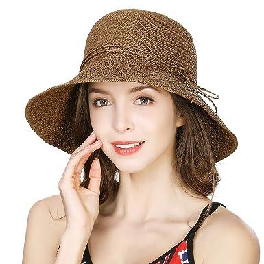 d80c2c485 Comhats Womens Summer Straw Sun Hat Wide Brim Packable Floppy Beach Sunhat  Adjustable