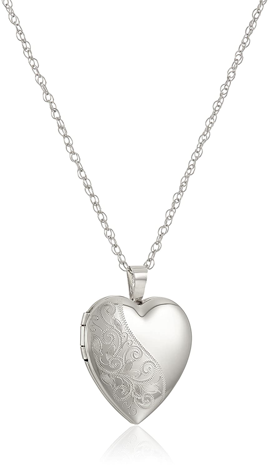 Sterling Silver Hand Engraved Floral Heart Pendant with Satin and Polished Finish Locket Necklace, 18 18 Amazon Collection AMZ7002F