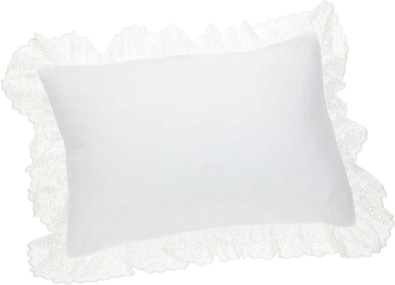 Fresh Ideas Bedding Eyelet Ruffled Pillow 2 Pack Sham King, Ivory
