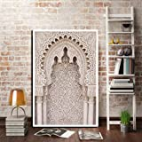 モロッコのドアレトロポスター世界的に有名な建築DIYの室内装飾フレームの絵画-60x80cm