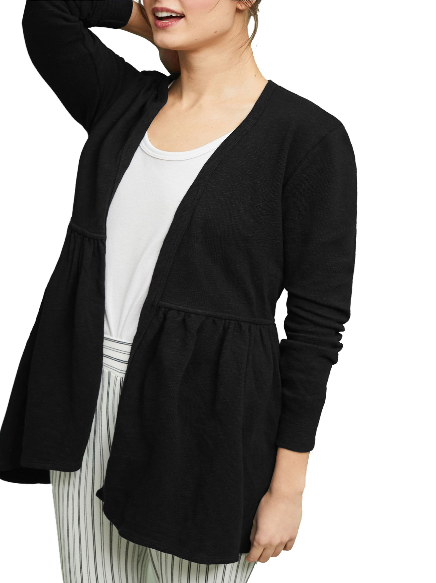 Rotita Women Open Front Knit Cardigan Plus Size Long Sleeve Ruffle Pleated Sweater Outwear