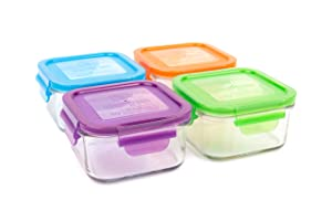 Wean Green Glass Food Storage Containers, Lunch Cube 16 Ounces, Garden Pack (4 Pack)