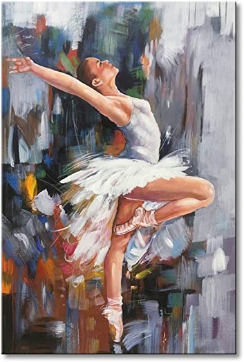 Ballet Dancer Modern Artwork Hand Painted Abstract Oil Paintings on Canvas Wall Art Girl Dancing Contemporary Framed Ready to Hang for Home Decoration