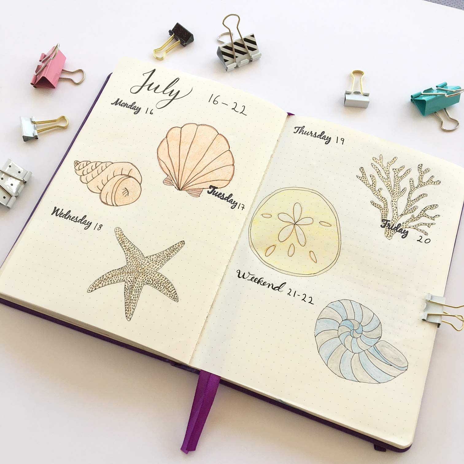 Scrivwell Dotted A5 Hardcover Notebook - 240 Dotted Pages with Elastic Band, Two Ribbon Page Markers, 100 GSM Paper, Pocket Folder - Great for Bullet journaling (Purple) by Scrivwell (Image #5)
