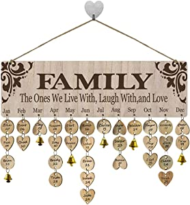 FamGift Gifts for Moms Dads- Family Birthday Reminder Calendar Board DIY Birthday Tracker Plaque Wall Hanging Family Friends Classroom&Office Decorative(Wood Tags with Holes/Family Sayings Pattern)
