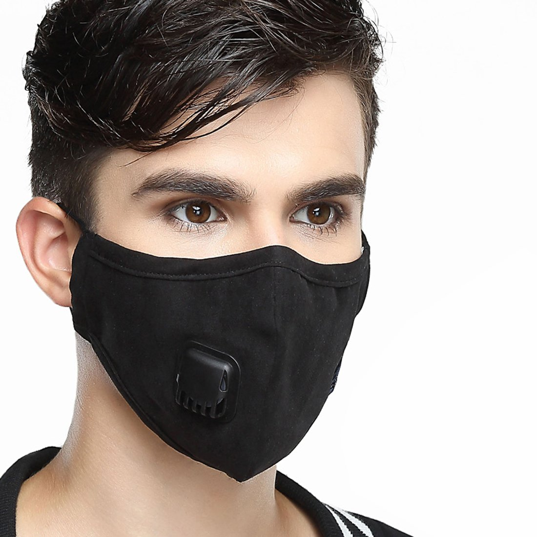 Healthyair Masks PM 2.5 Anti Pollution Mask with Valve Pynogeez Washable Dust Respirator Cotton Mouth Masks with Replaceable 5 Layer Filter (Mask + 2 Filters) (Black, Large(Men's))