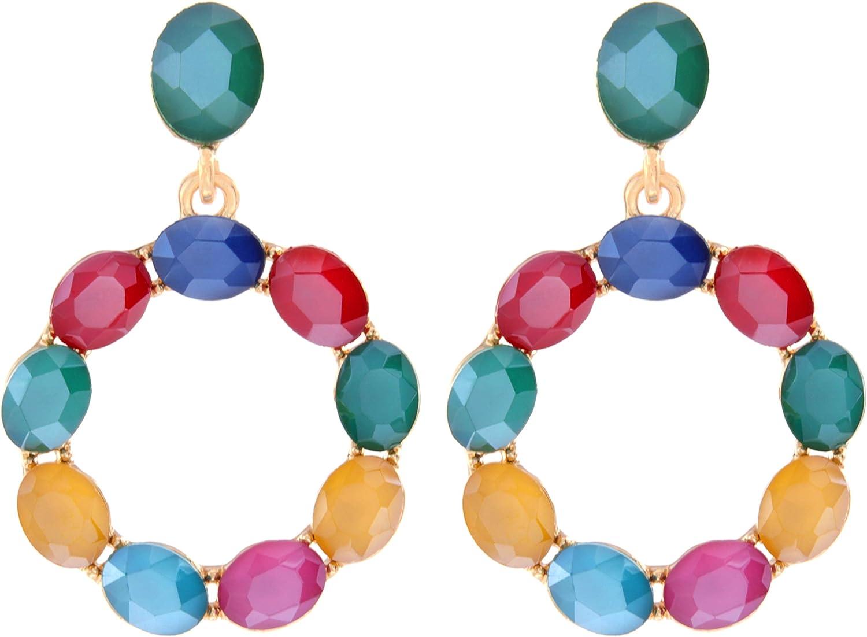 TEMPUS FUGIT. Pendientes para mujer largos Antialérgicos Aro chapados en Oro con cristales de colores brillantes