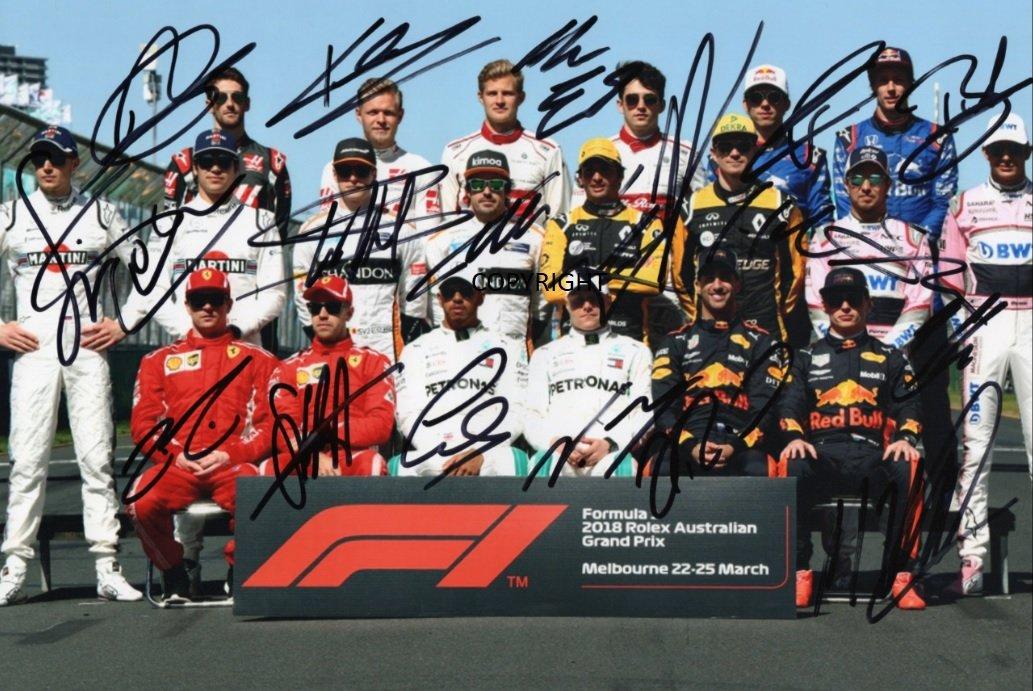 Limited Edition F1 Treiber 2018 unterzeichnet Foto Autogramm signiertsigniertes THEPRINTSHOP
