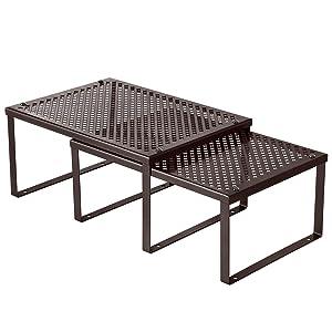 SONGMICS Cabinet Shelf Organizer, Set of 2 Metal Kitchen Counter Shelves, Stackable, Expandable, Brown UKCS01BR
